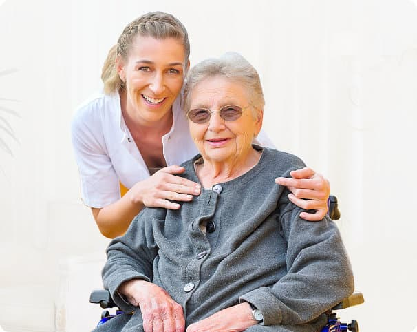 Caregiver and an elder in a walker